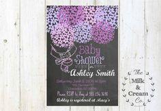 Rustic Chalkboard Lavender Baby Shower  Invite,  Invitation with flowers, Simple Casual, Digital File, Lavender Purple
