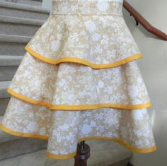 Half Hostess Apron for Women in Yellow and Cream by RosyDaysAprons