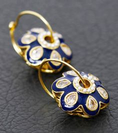 Blue Enamel Polki Embellished Earrings