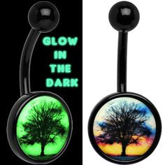 Glow in the Dark Titanium Sunset Tree Belly Ring | Body Candy Body Jewelry #bodycandy