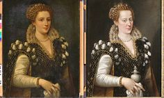 """Painting of murdered Renaissance beauty revealed under layers of paint. 300 years after Isabella de' Medici's portrait (on the right, faded) was painted someone took the liberty of going over her image and """"restoring"""" it to look acceptable in the Victorian age. They then added insult to injury by passing it off as Isabella's mother, Eleanor of Toledo, for two hundred years..."""
