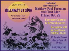 """Graphic for advertisement.  The City Paper ad for, """"The Really Scary Halloween Show"""" by James F. Baldwin Jr. and Melanie Merz.      Artists Matt P. Foreman, James F. Baldwin and Clint Eden were the exhibitors."""