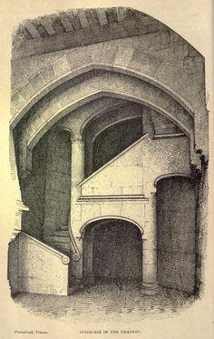 A staircase inside the Château de Pierrefonds