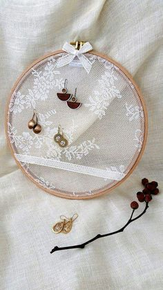 Repurposed Vintage Double Picture Frame Jewelry Display Earring