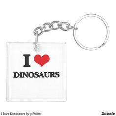 I love Dinosaurs Double-Sided Square Acrylic Keychain