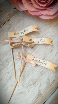 Best day ever flags cupcake picks wedding set of 25 by LiziLoves, £5.95