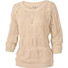 Lydia Pointelle Jumper ($34) ❤ liked on Polyvore featuring tops, sweaters, pullover, shirts, beige sweater, acid wash shirt, shirt jumper, beige shirt and jumper tops