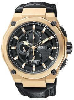 195 Citizen Eco-Drive Chronograph Leather Mens Watch Gents Watches c83450e58ab