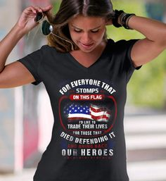 For Everyone That Stops This Flag. Women's: Anvil Ladies' V-Neck T-Shirt. Black.  #loyalnineapparel #loyalnineclothes #threepercent #usa #constitution #patriot #america #gungirl #womensshirt #womensfashion #americafirst #teaparty #girlswithguns #conservative #dtom #womenstee #instagood #gop #fashionista #teeshirt #tee #fashion #threeper #pewpewlife #threepercenter #2a #instafashion #patriotic #womenwhoshoot #livefreeordie