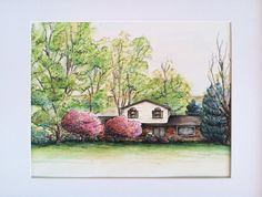 Custom Watercolor Home Portrait 8 x 10""