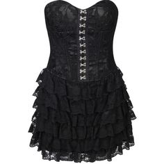 Goth Lace Dress (120 BRL) ❤ liked on Polyvore featuring dresses, vestidos, black, short dresses, dressy, fancy cocktail dresses, shift dress, tiered ruffle dress, short mini dresses and fancy dresses