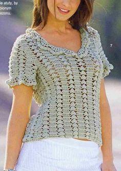 Beautiful Simple Women& Tunic Pattern … More … Crochet Tunic Pattern, Crochet Shirt, Crochet Cardigan, Knit Crochet, Crochet Patterns, Crochet Sweaters, Crochet Summer Tops, Crochet Woman, Crochet Designs