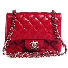 CHANEL Caviar Quilted Mini Square Flap Red ❤ liked on Polyvore featuring bags, handbags, shoulder bags, chanel, shoulder strap bag, chanel purses, leather handbags, leather shoulder bag and genuine leather handbags