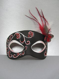 Butterfly leather mask in black and red by maskedzone.deviantart.com on @deviantART