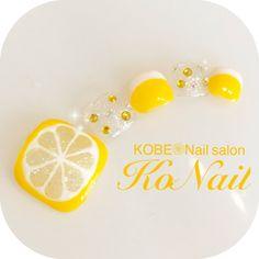レモン🍋フットネイル💓評判良いです^ ^#ネイル#レモンネイル#フルーツ#フルーツネイル#レモン#フットネイル#ペディキュア#イエローネイル#黄色ネイル#ビジュー#お客様 #お客様ネイル... ネイルデザインを探すならネイル数No.1のネイルブック Coffen Nails, Chic Nails, Feet Nails, Pretty Toe Nails, Fancy Nails, Love Nails, Feet Nail Design, Fruit Nail Art, Cute Pedicures