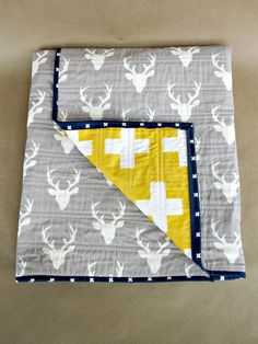 READY TO SHIP, Modern Quilt, Baby Quilt, Baby Blanket, Whole Cloth Quilt, Deer, Crosses, Yellow, Grey, Baby Boy
