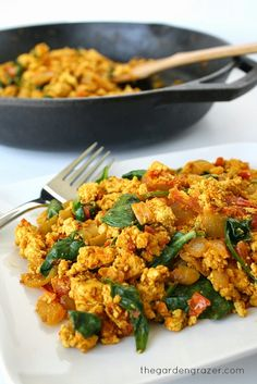 Tofu Scramble with Spinach and Tomato. Can also use the filling to make breakfast burritos/tacos! (vegan, gluten-free)