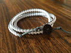 Handmade leather wrap bracelet - faux white pearls on light grey, faux white pearls on dark brown, green, teal, purple wooden beads