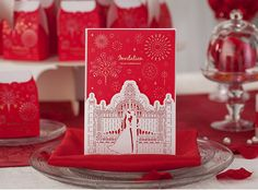 Red Wedding Invitation, Printable Customized Design, Personalized Card - Pack of 50