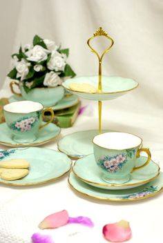7 piece - Tea for two with matching 2 tier Cake Stand Vintage Tea set Hand Painted Bone China. Mint , Pale green , Pink Floral pattern.1947