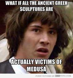 Ancient Greek sculptures victims of Medusa