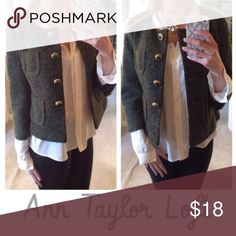 """""""Green With Envy"""" tweed jacket Ann Taylor Loft tweed 3/4 length sleeves. Gold button closure and two pockets on front of jacket ann taylor loft  Jackets & Coats Blazers"""