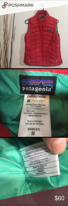Patagonia Women's Down Vest This vest is in excellent condition! No flaws like stains or holes! The color is strawberry (pink/red) Smoke and pet free home. No trades! Patagonia Jackets & Coats Vests