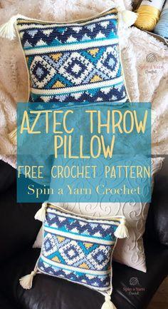 Throw Pillow Free Crochet Pattern A beautiful tapestry crochet pillow.A beautiful tapestry crochet pillow. Crochet Afghans, Tapestry Crochet Patterns, Crochet Cushions, Crochet Yarn, Free Crochet, Afghan Patterns, Crochet Ideas, Square Patterns, Free Knitting