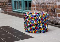 Black and white/felt ball pouf/round pouf/round wool ottoman/felt ball handmade/nursery pouf