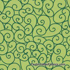 Fabric... Swirly Gig in Green by Michael Miller Fabrics