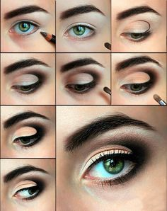 Makeup for green eyes step-by-step tutorial, the basic rules on how to choose the green eye shades, shades you must avoid, Choosing the eyeliner and mascara for Black Eye Makeup, Simple Eye Makeup, Makeup For Green Eyes, Black Eyeliner, Makeup Ads, Day Makeup, Eye Makeup Tips, Brunette Makeup, Makeup Lessons