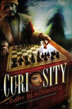 <2014 pin> Curiosity by Gary Blackwood.  SUMMARY: In 1835, when his father's put in a Philadelphia debtor's prison, 12-year-old chess prodigy Rufus Goodspeed is relieved to be recruited to secretly operate a chess-playing automaton named The Turk, but soon questions the fate of his predecessors and his own safety.