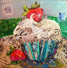 """Nancy Standlee Fine Art: Cupcake Torn Paper Collage Painting, Arles: City in France, 12084 and Daily Paintworks """"Artist Spotlight and Giveaway"""" by Texas Daily Painter Nancy Standlee Decoupage, Paper Collage Art, Paper Art, Food Collage, Cupcake Art, Daily Painters, Ecole Art, Torn Paper, Contemporary Abstract Art"""