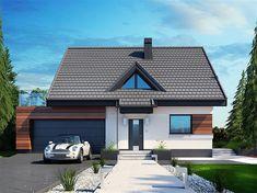 Projekt domu z poddaszem Lolek N 2G o pow. 93,52 m2 z obszernym garażem, z dachem dwuspadowym, z tarasem, sprawdź! House Layout Plans, House Layouts, House Plans, Home Building Design, Building A House, House Design, Types Of Houses Styles, House Styles, Modern Villa Design