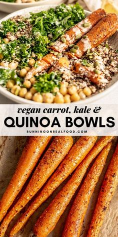 This vegan and gluten-free roasted carrot kale and quinoa bowl with chickpeas and tahini sauce is easy to make with whole food ingredients in under 45 minutes. Vegan Bowl Recipes, Recipe Bowls, Easy Vegan Lunch, Breakfast Recipes, Dinner Recipes, Popular Recipes, Popular Food, Vegan Roast, Quinoa Bowl
