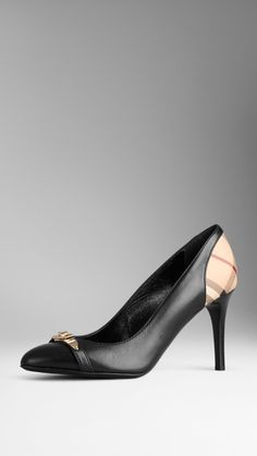 Check Detail Leather Pumps | Burberry