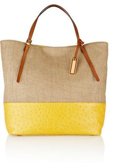Michael Kors Gia large leather trimmed woven straw shopper Michael Kors