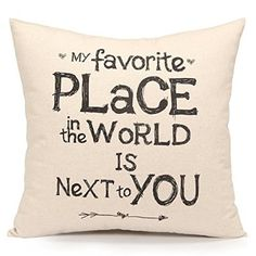 PrimeKey Practical Softly Throw Pillow Cover Cushion Sham Case, Inspirational Sweet Love Quote Print