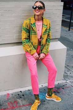 colorful style, yellow and green plaid print jacket, pink pants, yellow suede Adidas Gazelle sneakers, mustard yellow suede sneakers,