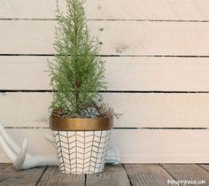 DIY Gold and White Herringbone Decorative Flower Pot at The Happy Housie