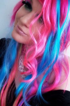 Scene Girl WIth Pink and Blue Hair~! This is pretty. I would choose blue and purple. Incensewoman