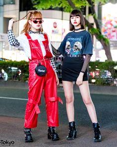 Harajuku Girls Streetwear w/ More Than Dope, Never Mind the XU, Kobinai & Bershka x Metallica Asian Street Style, Tokyo Street Style, Japanese Street Fashion, Tokyo Fashion, Harajuku Fashion, Women's Fashion, Fasion, Fashion Outfits, Korean Fashion Trends