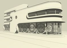 3D digital design of a Streamline Moderne villa