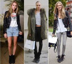 Cara Delevigne Street Style Model Moto Jacket Tee Glam Fur Leather Ripped Skinny Jeans