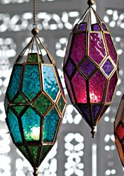 Moroccan style large hanging glass lantern