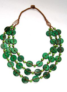 Ethnic Coconut Shell Necklace - Brand New - Handmade - New Style - GREEN#2