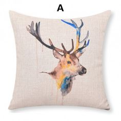 Deer pillow Hand painted style linen cushions for home decoration