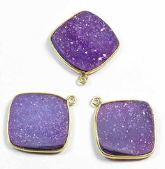 Druzy Parts 3Pcs 925 Sterling Silver Bazel Connector by GEMSICON