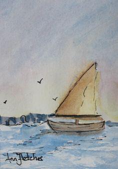 Sailing 2.5 x 3.5 watercolor
