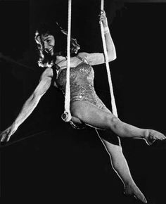 Maryse Begary, famous for her exceptional handstand on the trapeze bar—which she could hold for more than one minute—she made her professional debut at Paris's Cirque Medrano on April 14, 1939; she was thirteen years old.
